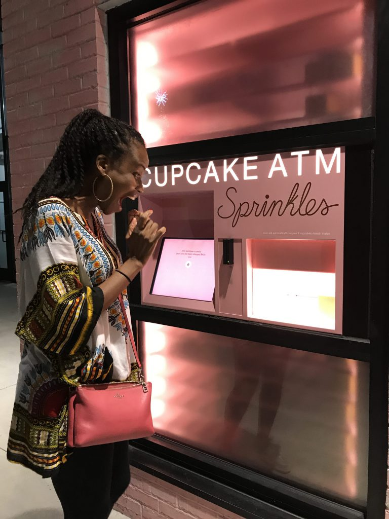 Sonia delighted at cupcake ATM