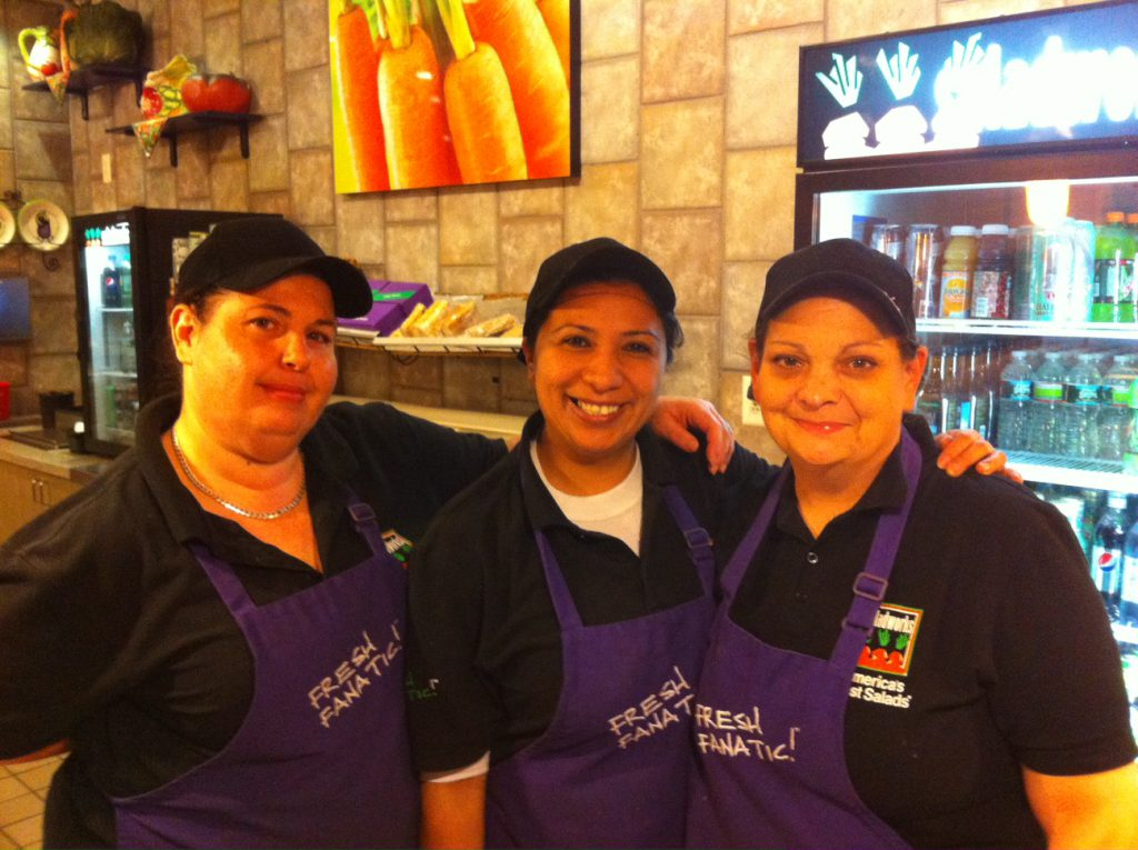 My lovely Salad Works team: Mirian, Cathy, and Erin