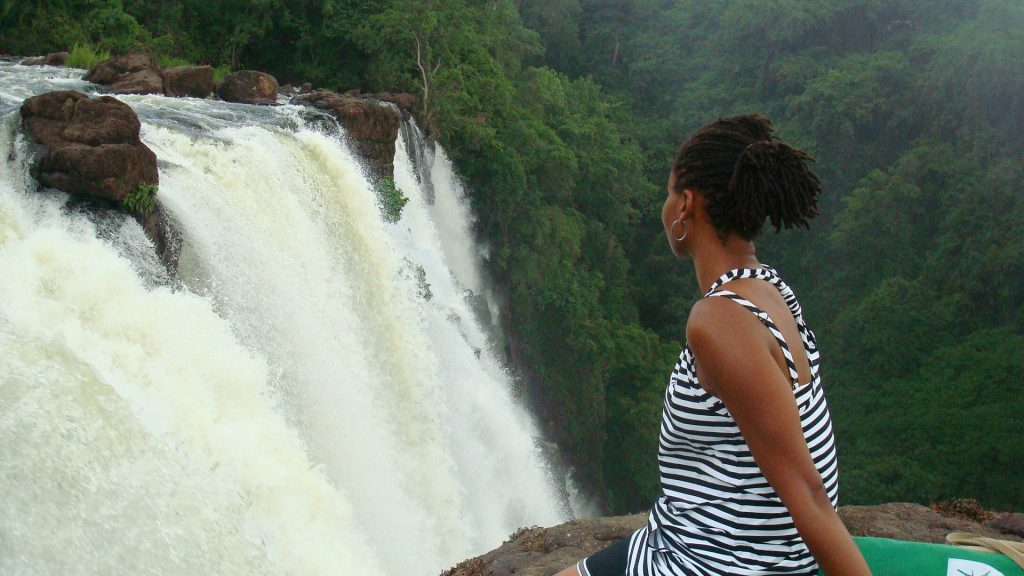 Sonia up close at Victoria Falls