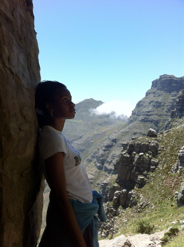 Sonia taking a break hiking Table Mountain