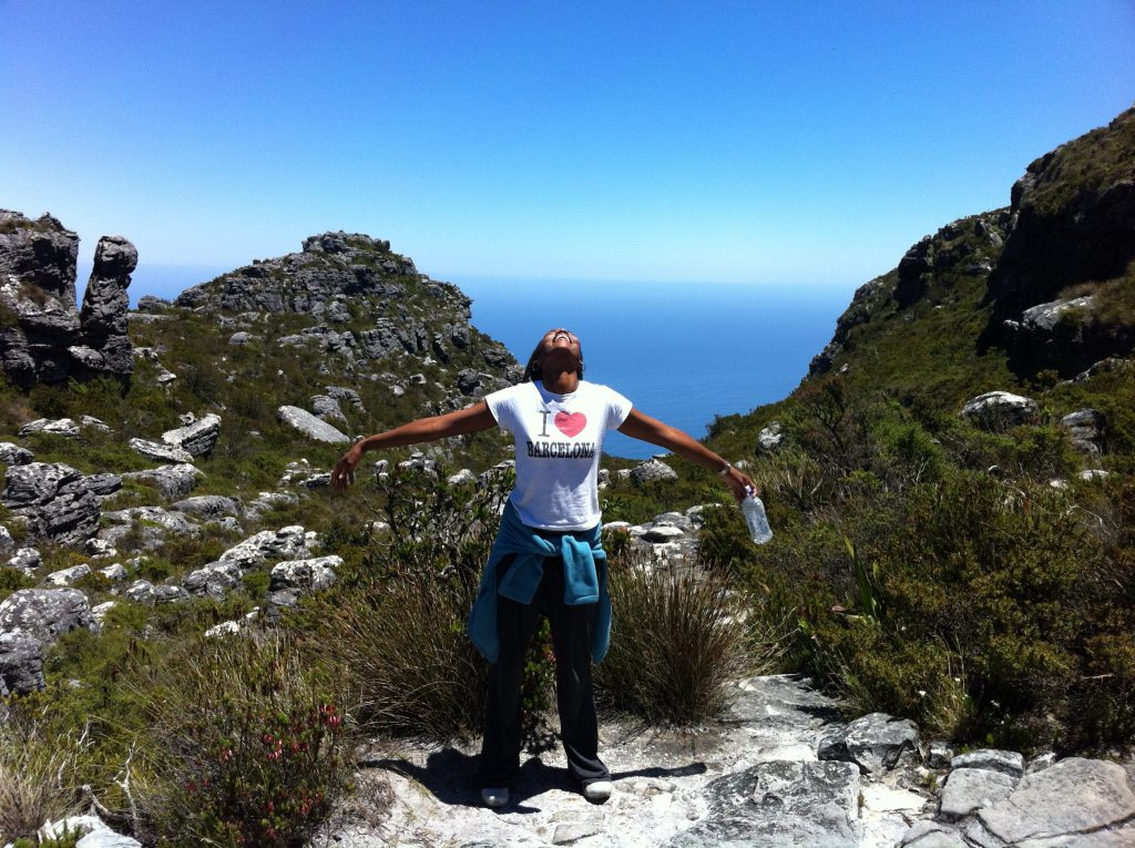 Sonia at the top of Table Mountain