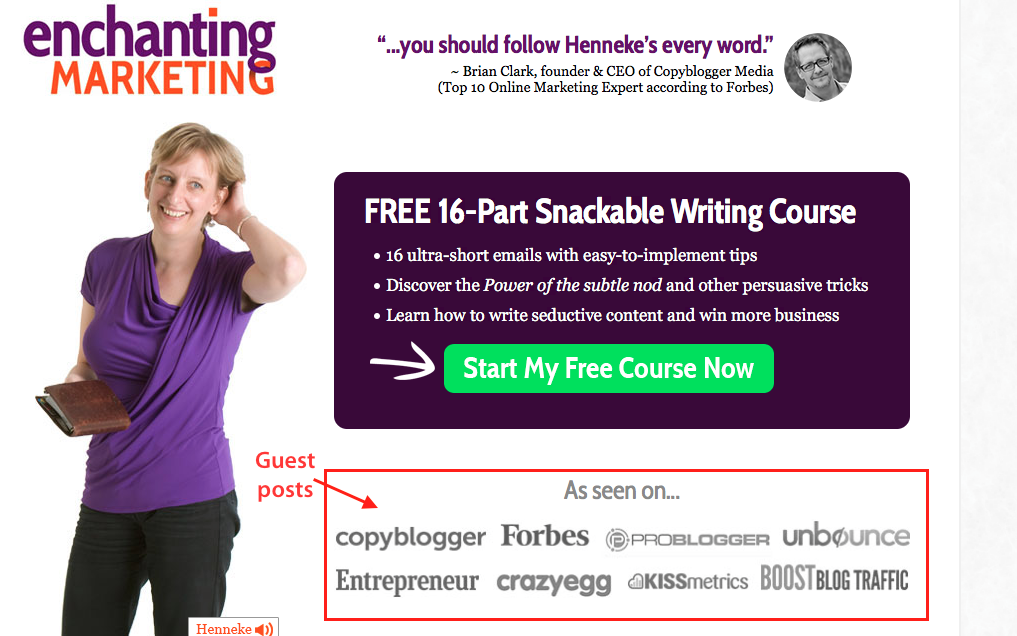 Lead generation the smart way - make your competition irrelevant by publishing your work. Henneke of Enchanting Marketing is a great example of how to do this.