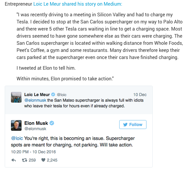 Elon Musk takes action quickly in response to customer complaint