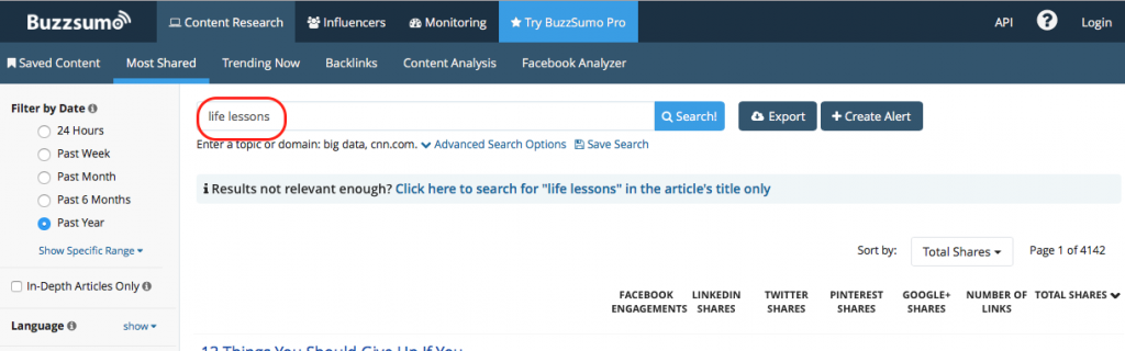 Life lessons topic over at BuzzSumo