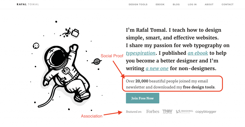 Rafal Tomal example of how to use social proof